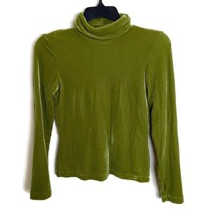 BCBG Maxazria Velvet Green Turtleneck Top